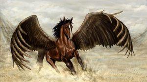 Превью обои пегас, лошадь, крылья, песок