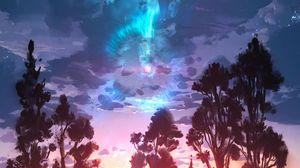 Превью обои пейзаж, арт, деревья, облака, краска