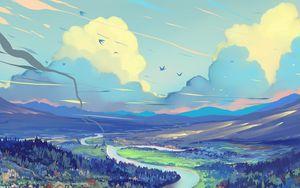 Превью обои пейзаж, арт, дорога, горы, небо