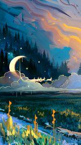 Превью обои пейзаж, арт, луна, трава, красочный