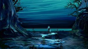 Превью обои пейзаж, человек, фантастика, арт, фантастический мир