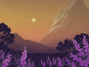 Превью обои пейзаж, горы, арт, лаванда, цветы, деревья, солнце