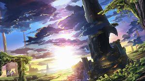 Превью обои пейзаж, облака, рассвет, арт, фантастический