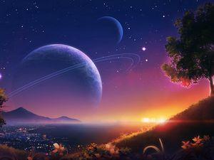 Превью обои пейзаж, планеты, звезды, космос, арт