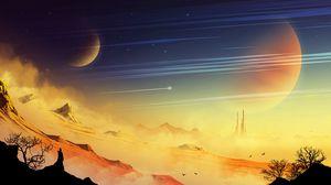 Превью обои пейзаж, внеземной, скалы, пыль, планета, звезды, космический