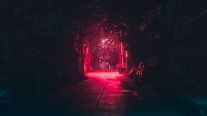 Превью обои переулок, ночь, темный, городской, освещение, красный