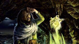 Превью обои пещера, маг, волшебство, чан