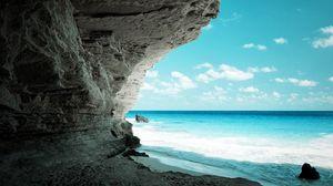 Превью обои пещера, море, берег, скала, рай