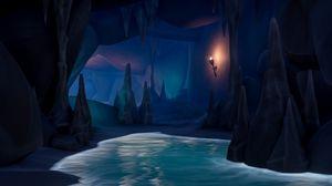 Превью обои пещера, арт, вода, темный