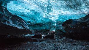 Превью обои пещера, лед, льдины, камни