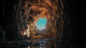 Превью обои пещера, лужа, отражение, скала