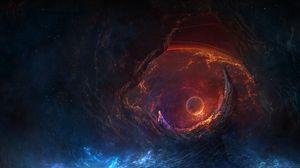 Превью обои пещера, планета, свечение, дым, космос