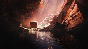 Превью обои пещера, руины, сундук, темный