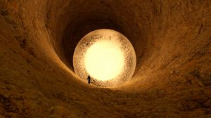 Превью обои пещера, шар, силуэт, свечение, 3d