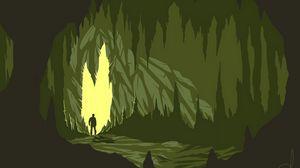 Превью обои пещера, силуэт, арт, вектор, темный