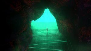 Превью обои пещера, силуэт, свет, выход