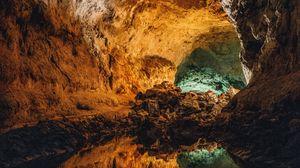 Превью обои пещера, вода, отражение, каменный, внутри, вулканический, куэва-де-лос-вердес, канарские острова, испания