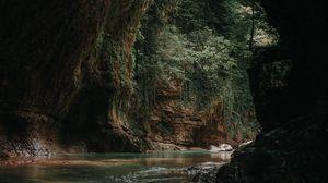 Превью обои пещера, вода, темный, камни