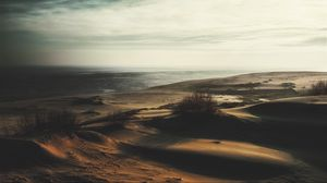 Превью обои песок, трава, пустынно