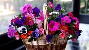 Превью обои петуния, анютины глазки, герань, розы, цветы, разные, корзина