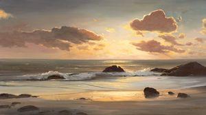 Превью обои пейзаж, море, берег, океан, живопись, искусство, пляж