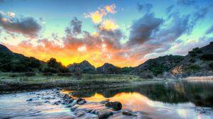Превью обои пейзаж, сша, река, небо, малибу, калифорния, облака, hdr, природа