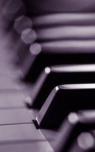 Превью обои пианино, клавиши, черно-белый, музыка