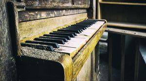 Превью обои пианино, старое, пыль, клавиши
