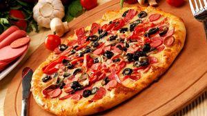 Превью обои пицца, выпечка, нож, вилка