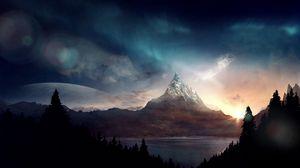 Превью обои пик, гора, фантастика, искусство