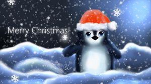 Превью обои пингвин, шапка, детеныш, снежинки, рождество, надпись
