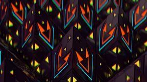 Превью обои пирамиды, фигуры, 3d, разноцветный, структура