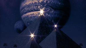 Превью обои пирамиды, планеты, сияние, вспышки, темный