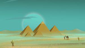 Превью обои пирамиды, пустыня, путник, арт