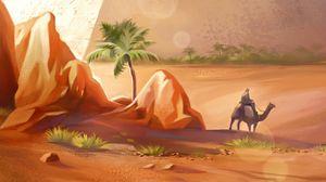 Превью обои пирамиды, пустыня, верблюд, арт
