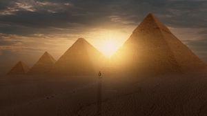 Превью обои пирамиды, солнце, пустыня, силуэт, закат