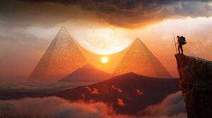 Превью обои пирамиды, закат, пейзаж, холмы, облака, путешествие