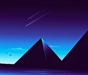 Превью обои пирамиды, звездное небо, ночь, темный