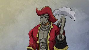 Превью обои пират, броня, шляпа, крюк, арт