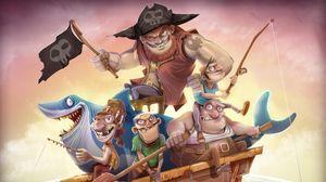 Превью обои пираты, лодка, удочки, акула, якорь, флаг