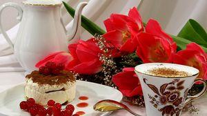 Превью обои пирожное, кофе, пенка, десерт