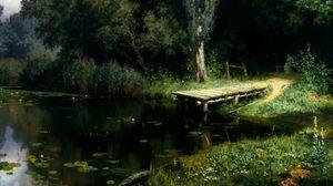 Превью обои пирс, озеро, кувшинки, деревья, живопись, искусство, поленов, заросший пруд