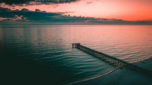 Превью обои пирс, причал, море, сумерки, берег