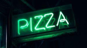 Превью обои пицца, неон, вывеска, надпись