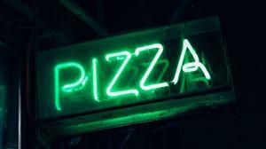 Превью обои пицца, слово, неон, вывеска, свет, зеленый