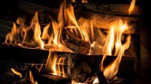Превью обои пламя, дрова, камин, огонь, угли