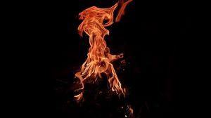 Превью обои пламя, искры, огонь, темная, ночь