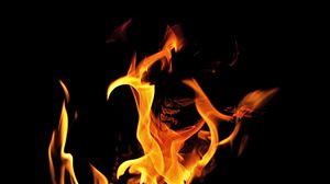 Превью обои пламя, огонь, костер, черный