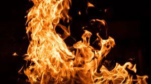Превью обои пламя, огонь, стихия, темный