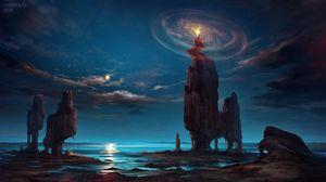 Превью обои пламя, скала, фэнтези, волшебство, арт